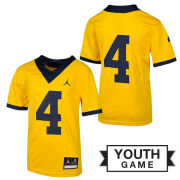 Jordan University of Michigan Football Youth Maize #4 Game Alternate Jersey