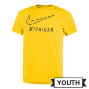 Nike University of Michigan Youth Yellow ''Swoosh'' Dri-FIT Legend Tee