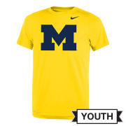 Nike University of Michigan Youth Maize Dri-FIT Legend Block ''M'' Logo Tee