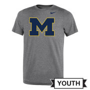 Nike University of Michigan Youth Dark Heather Gray Dri-FIT Legend Block ''M'' Logo Tee