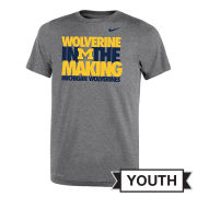 Nike University of Michigan Youth Gray ''Wolverine In The Making'' Dri-FIT Legend Tee
