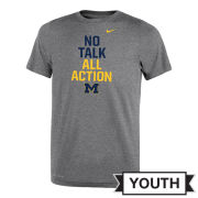Nike University of Michigan Youth Gray ''No Talk. All Action'' Dri-FIT Legend Tee