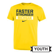 Nike University of Michigan Youth Yellow ''Faster. Stronger. Michigan'' Dri-FIT Legend Tee