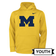 Nike University of Michigan Youth Yellow Block ''M'' Logo Therma-FIT Hooded Sweatshirt