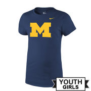 Nike University of Michigan Youth Girls Navy Block ''M'' Logo Tee