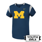 Nike University of Michigan Youth Girls Navy Modern Fan ''Block M'' V-Neck Tee