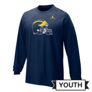 Jordan University of Michigan Football Youth Navy Long Sleeve Helmet Tee