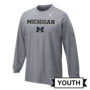 Jordan University of Michigan Football Youth Gray Long Sleeve Facility Tee