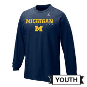 Jordan University of Michigan Football Youth Navy Long Sleeve Facility Tee