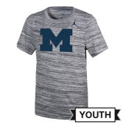 Jordan University of Michigan Football Youth Charcoal Heather Gray Dri-FIT Legend Travel Tee