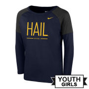 Nike University of Michigan Youth Girls Navy/Gray Long Sleeve Tailgate Tee