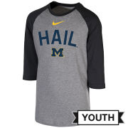 Nike University of Michigan Youth Gray/ Dark Heather Gray 3/4 Raglan Sleeve Tee