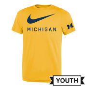 Nike University of Michigan Youth Maize DNA ''Big Swoosh'' Dri-FIT Legend Tee