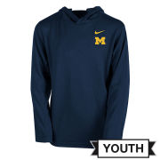 Nike University of Michigan Youth Navy Dri-FIT Long Sleeve Hooded Tee