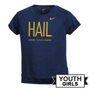 Nike University of Michigan Youth Girls ''HAIL'' Dri-FIT Legend Drop-Tail Tee