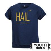 Nike University of Michigan Youth Girls ''HAIL'' Dri-FIT Legend Drop-Tail Tee