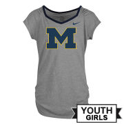 Nike University of Michigan Youth Girls Gray Raglan V-Neck Tee