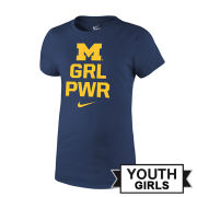 Nike University of Michigan Youth Girls Navy ''GRL PWR'' Tee