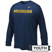 Nike University of Michigan Youth Navy Long Sleeve Dri-FIT Legend Basic Tee