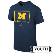 Jordan University of Michigan Basketball Youth Navy Backboard Logo Tee
