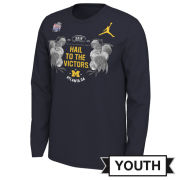 Jordan University of Michigan Football Youth Navy Peach Bowl ''Hail To The Victors'' Long Sleeve Tee