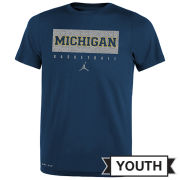 Jordan University of Michigan Basketball Youth Navy Dri-FIT Legend Practice Tee