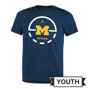 Jordan University of Michigan Basketball Youth Navy Dri-FIT Legend Key 2.0 Tee