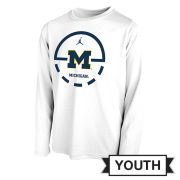 Jordan University of Michigan Basketball Youth White Long Sleeve Dri-FIT Legend Key 2.0 Tee