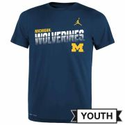 Jordan University of Michigan Football Youth Navy Dri-FIT Legend Sideline Tee