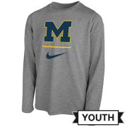 Nike University of Michigan Youth Gray Long Sleeve Dri-FIT Legend Sideline Tee