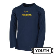 Nike University of Michigan Football Youth Navy Long Sleeve Dri-FIT Legend Coaches Tee