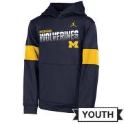 Jordan University of Michigan Football Youth Navy Sideline Therma-FIT Hooded Sweatshirt