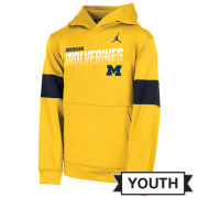 Jordan University of Michigan Football Youth Maize Sideline Therma-FIT Hooded Sweatshirt