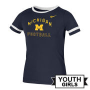 Nike University of Michigan Youth Girls Navy Fan Ringer Tee