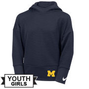 Nike University of Michigan Youth Girls Navy Double Fleece Hooded Sweatshirt