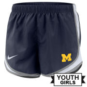 Nike University of Michigan Youth Girls Navy Tempo Shorts