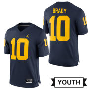 Jordan University of Michigan Football Youth Navy Tom Brady #10 Game Jersey