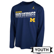 Jordan University of Michigan Youth Navy Sideline Long Sleeve Dri-FIT Legend Tee