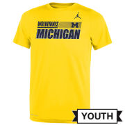Jordan University of Michigan Football Youth Maize Dri-FIT Legend Sideline Tee