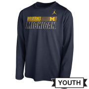 Jordan University of Michigan Football Youth Navy Long Sleeve Dri-FIT Legend Sideline Tee
