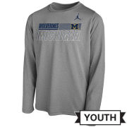 Jordan University of Michigan Football Youth Gray Long Sleeve Dri-FIT Legend Sideline Tee