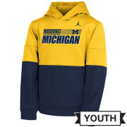 Jordan University of Michigan Football Navy/Yellow Colorblock Therma-FIT Hooded Sweatshirt