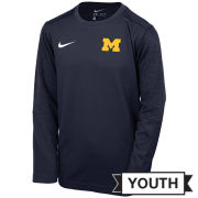 Nike University of Michigan Football Youth Navy Coaches Long Sleeve Dri-FIT Tee
