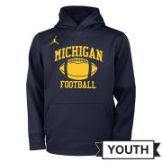 Jordan University of Michigan Football Youth Head Coaches Navy Sideline Therma-FIT Hooded Sweatshirt