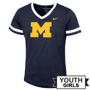 Nike University of Michigan Youth Girls Navy V-Neck Tee
