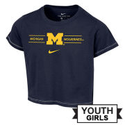 Nike University of Michigan Youth Girls Navy Crop Tee