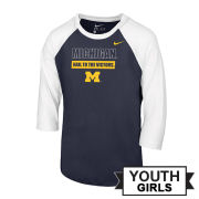 Nike University of Michigan Youth Girls Navy/White 3/4 Raglan Sleeve Tee