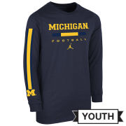 Jordan University of Michigan Football Youth Navy Long Sleeve Wordmark Tee