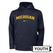 Nike University of Michigan Youth Navy Therma-FIT Hooded Sweatshirt