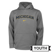 Nike University of Michigan Youth Dark Heather Gray Therma-FIT Hooded Sweatshirt